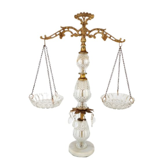 Vintage Hollywood Regency Austrian Glass & Brass Scales of Justice